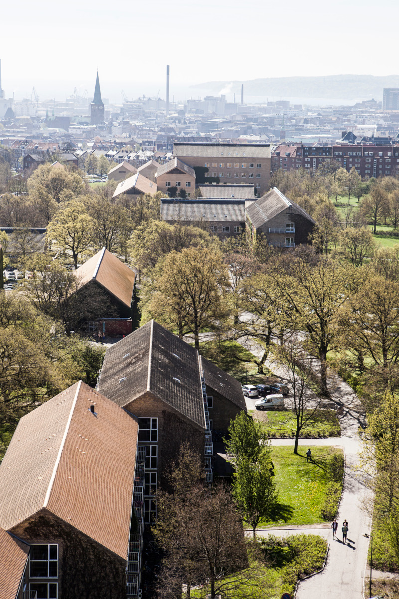 View from above of Aarhus University Campus and Aarhus city skyline